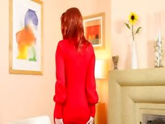 Redhead in nylons tease in red shoes