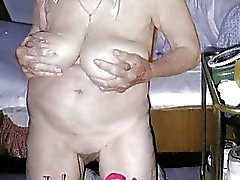 Old womanlady and mature showing her naked body
