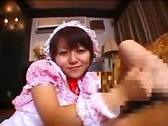 Provoking Japanese maid in stockings goes wild for a throbb