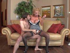British big tits cougar in stockings fucks 2 (TOP MATURE)