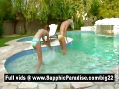 Adorable redhead and blonde lesbians kisisng and having lesbian love