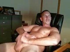 bisexual dad stroking his cock