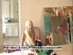 Amateur teen blonde Kacey dresses and strips changing her attire