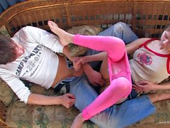 Shaved pussy Girl Beata gives head after footjob