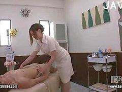 Jap nurse jerking cock