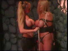 Bound slave teased by her mistress