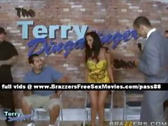 Gorgeous brunette girl at a reality show with her husband