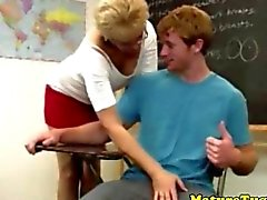 Spex mature teacher pulling a teens hard cock