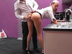 Distinctive blonde with sexy long legs gets fucked hard in the office