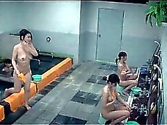 Teen sexy Asian girls showering in group at the gym
