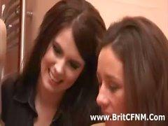 Naughty British girls wank CFNM amateur guy