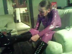 my wife in purple latex catsuit