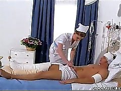 Sarah lays the role of naughty nurse for her banged up