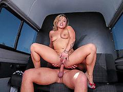 Squirting German blondie enjoys hawt hard sex in the backseat of the van menacing-menacing PornDoe