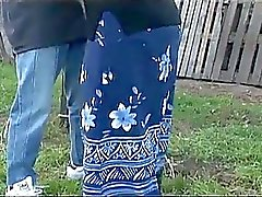 Granny fucked in the yard by a horny dude