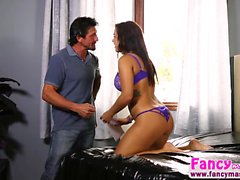 Big boobs Keisha Grey ends up in threesome action with Tommy
