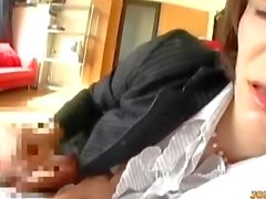 Office Lady Kissing With Guy While Giving Handjob Cum To Hand On The Couch