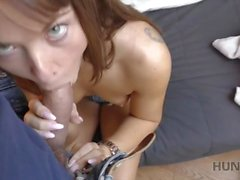 HUNT4K. Slut rides stranger's phallus while cuckold watches this