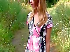 Hot chick shows her awesome body for cash outdoors