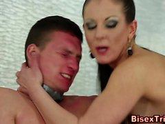 Bisex slave gets facial
