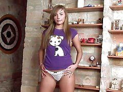 Jessika Lux brunette chick in shirt and panty