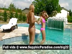 Adorable Bernice and Lena blonde lesbo babes getting naked by the pool
