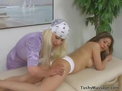 Asian Teen massaged by blonde dyke