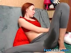 Sexy student redhead in yogapants treating