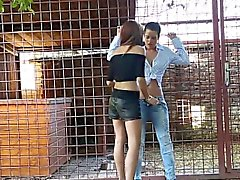 Peeing lesbo gets toyed