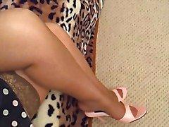 milf's pink toenails in tan nylons in pink mules