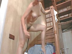 Young maid with hairy cunt masturbating on the stairs