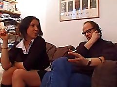 Young Tiffany threesome with her old teacher