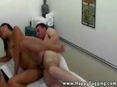 Petite asian masseuse getting drilled by client