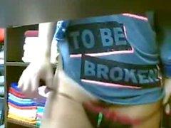 Webcam girl masturbs at shop