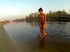 bathing naked