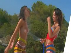 Wet outside fun with two serbian babes