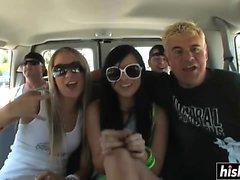Two sluts get fucked in a van