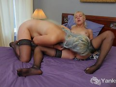 Stockinged Lily And Zenia Licks Their Twats