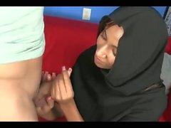 Muslim in Hijab sucks a Big White Cock BWC