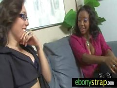 White lesbian fucked by black beauty with strapon 24