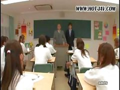 Japanese school of sex with lots of lessons going on as they fuck