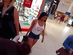 Candid voyeur big ass big tits latina tina shorts and shirt