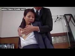 Hot Japanese office slut gives her boss a taste of her twat