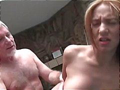 Young brunette gives this old guy some nice hot fucking sex