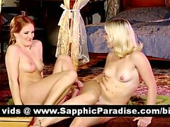 Adorable redhead and blonde lesbos licking and fingering pussy and having orgasm