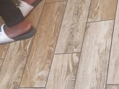 Candid ebony hood chick feet at wendys