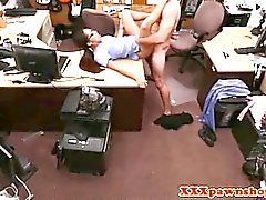 Pawnshop babe gets a sticky facial