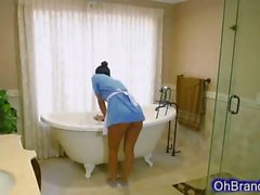 Very cute Latina maid cleans swollen cock