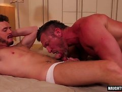 Muscle bottom anal sex with cumshot