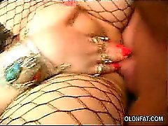 Stocking Mature BBW Sucking a Cock